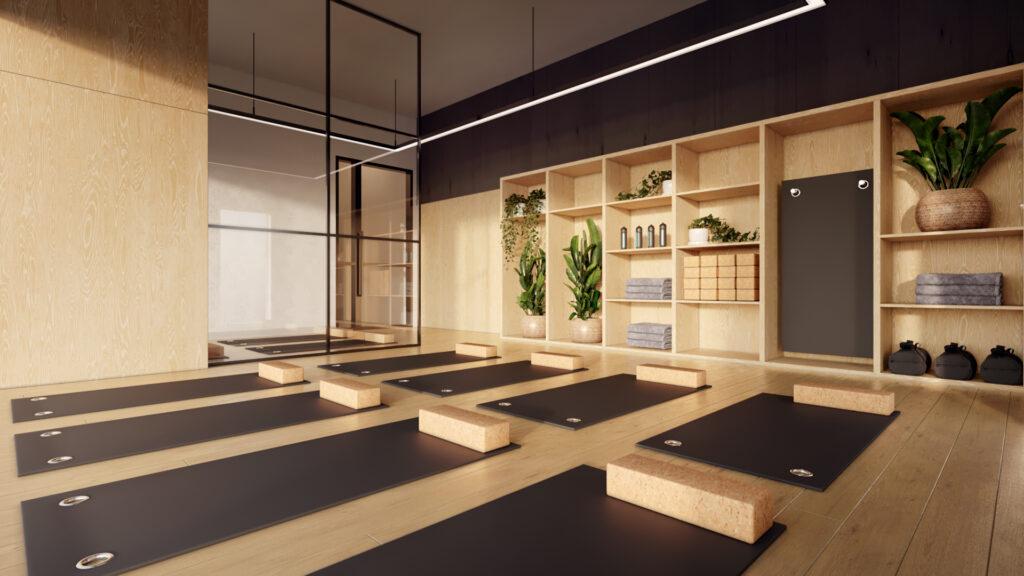 Yoga room in wood